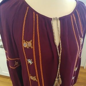 Boho HIPPIE LAUNDRY Merlot Embroidered Peasant Top